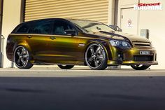 Peta Psaras's VE SS-V wagon is hard to miss. If the barking exhaust doesn't grab you by the goolies, the insane paintjob and bonkers audio system surely will Holden Wagon, Holden Monaro, Station Wagon Cars, Aussie Muscle Cars, Reliable Cars, Holden Commodore, Audio System, Car Detailing, We The People