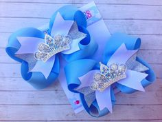 Cinderella Bow  Baby Blue Bow  Princess Party  YOU by SparkleToes3