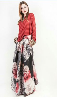 Maxi silk taffeta floral skirt witj stripe blouse real leopard fur sleeves Facebook: Miss & Prince