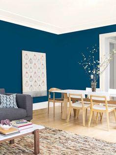 Blue Wall Colors, Accent Wall Colors, House Colors, Paint Colours, Blue Bedroom Paint, Peacock Blue Bedroom, Peacock Blue Paint, Blue Bedrooms, Teen Bedroom