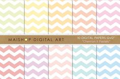 Digital Papers - Chevron II Pastels ~~ This is a pack of 10 original high quality digital papers in jpg format. You can print them in any kind of paper and any kind of printer; inkjet or laser, at home, at work :) or in your favorite printer everytime you want. You can also print them on fabric