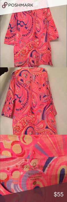 Lilly Pulitzer Marco Island Tunic in Reef Retreat Gorgeous long sleeve tunic by Lilly Pulitzer. The color are super bright. 100% linen. Size xs. In the pattern reef retreat. Brand new with tags. Would make a beautiful beach cover up or would look adorable with white leggings. Please ask all questions before purchase. Offers and trades considered. Lilly Pulitzer Tops Tunics