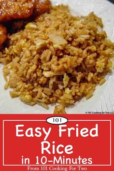 """An easy fried rice recipe using Minute Rice for that """"eat in"""" Chinese meal. Done in with these easy step by step photo instructions. via rice recipe easy chinese food eggs Easy Fried Rice in from 101 Cooking for Two Brown Rice Recipes, Easy Rice Recipes, Asian Recipes, Healthy Recipes, Recipes With Minute Rice, Mexican Recipes, Light Recipes, Fried Rice With Egg, Gastronomia"""
