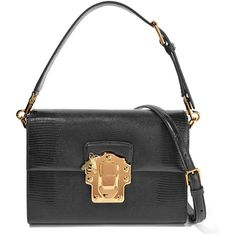 Dolce & Gabbana Lucia lizard-effect leather shoulder bag ($2,210) ❤ liked on Polyvore featuring bags, handbags, shoulder bags, black, top handle handbags, structured purse, structured leather handbags, leather purses and kiss-lock handbags
