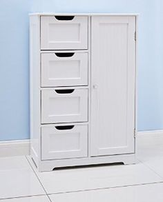 Home Treats White Wooden Bathroom Cabinet With Four Drawers & Cupboard Ideal For Bathroom or Bedroom: Amazon.co.uk: Kitchen & Home