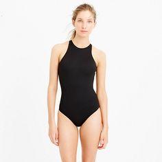 J.Crew+-+High-neck+zip-back+one-piece+swimsuit+in+Italian+matte
