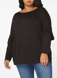 Womens DP Curve Plus Size Black Ruffle Sleeve Jersey Top- Black