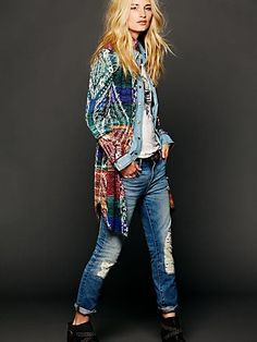 Free People Pattern Long Buttondown Sweater at Free People Clothing Boutique