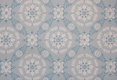 Vintage Wallpaper Blue and White Floral Geometric on Blue by the Yard Farmhouse Wallpaper, Dining Room Wallpaper, Grey Wallpaper, Pink Blue, Blue And White, Interior Design Courses, Original Wallpaper, Retro Vintage, 1960s