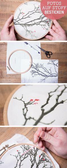 Stickanleitung: Fotos im Stickrahmen besticken, Stickideen / diy embroidery tutorials: use photos as stitching ground via DaWanda.com