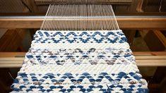 Rosepath rag rug hot pads on the loom.