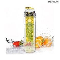 800ml Tritan Bottle Fruit Water Drink Infuser Yellow BPA Free Flip Healthy Sport