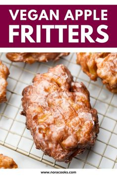 Apple Fritters are easy to make at home in 30 minutes or less with NO yeast! These crunchy, sweet donuts are vegan but no one would guess it. Full of fresh apples! Vegan Brunch Recipes, Fall Dessert Recipes, Fall Desserts, Vegan Desserts, Healthy Recipes, Vegan Donut Recipe, Donut Recipes, Apple Recipes, Snacks To Make