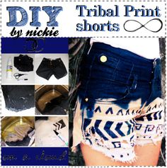 """""""DIY Tribal Print Shorts"""" by the-amazing-tip-chickas ❤ liked on Polyvore"""