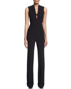 B32ZL Agnona Sleeveless Slim-Leg Jumpsuit, Black