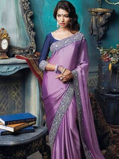 Mouve and Blue Printed Saree
