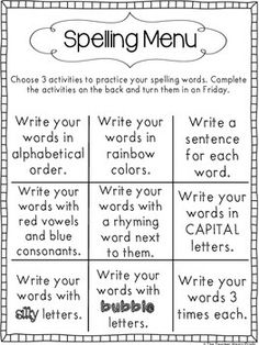 Spelling Pin Spelling Menu - Young learners can participate in this activity for spelling practice. It allows students to express their spelling words with multiple representations which provides them with more of an opportunity to remember the spelling. 2nd Grade Spelling, 2nd Grade Ela, 2nd Grade Writing, 2nd Grade Classroom, Spelling And Grammar, First Grade Reading, Spelling Words, Spelling Menu, Spelling Homework