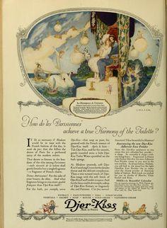 Djer-Kiss 1922 Vintage Advertisements, Vintage Ads, Vintage World Maps, Perfume Ad, Vintage Perfume, Kiss Cosmetics, Art Nouveau, Art Deco Illustration, Enter The Dragon