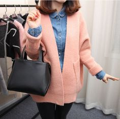 Batwing Korean Pure Color Pocket Loose Cardigan