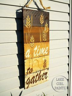 Handpainted Fall Wheat Door Hanging