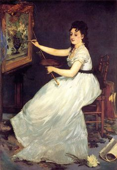 Édouard Manet - Portrait of the Artist Eva Gonzales, his student (National Gallery, London) Edouard Manet, Renoir, French Impressionist Painters, National Gallery, Mary Cassatt, Peter Paul Rubens, Giovanni Boldini, Claude Monet, French Artists