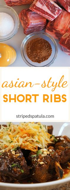 Slow cooker short ribs, full of flavor! Don't miss the Daikon Salad on top!