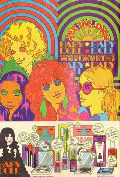 Woolworth's goes psychedelic…ad for 'modern' makeup, ca. – Kat Woolworth's goes psychedelic…ad for 'modern' makeup, ca. Woolworth's goes psychedelic…ad for 'modern' makeup, ca. Vintage Advertisements, Vintage Ads, Vintage Posters, Vintage Style, Funny Vintage, Art Posters, Baby Doll Makeup, Art Nouveau, Psychedelic Art