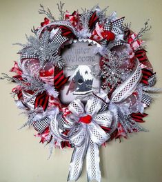 Hey, I found this really awesome Etsy listing at https://www.etsy.com/listing/214301489/winter-welcome-wreath-christmas-ribbon