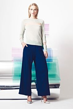 Misha Nonoo | Resort 2015 | 06 Grey long sleeve sweater with sheer inserts and blue culottes
