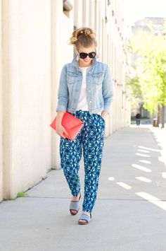 Pattern Pants, How To Style Your White Tee, J.Crew Envelope Clutch, Loft Denim Jacket, Lands End O'drsay Peep Toes