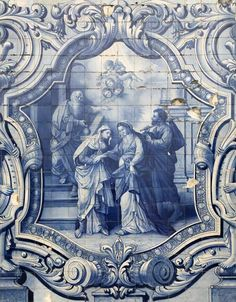 Biblical scene depicted in azulejos (blue and white tiles) on the way to Santuário Nossa Senhora dos Remédios in Lamego