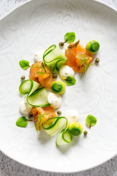Cured salmon with gin, kaffir lime, cucumber and avocado is an elegant first course, deliciously light and perfect flavour combinations.