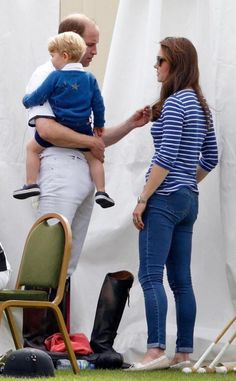 Catherine, Duchess of Cambridge, Prince William and Prince George take part in a charity Polo Club at Beaufort Polo Club in Tetbury, Gloucestershire (June 14, 2015)