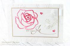 Stempel-Biene: Hochzeitskarten mit einem Hauch Rosenzauber
