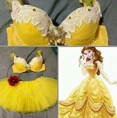 [this is absolutely not a Halloween costume. This is really hideously tacky lingerie] Princess Belle Inspired Rave Halloween costume Rave Halloween Costumes, Halloween Outfits, Belle Halloween, Diy Bra, Fantasias Halloween, Princess Belle, Disney Princess, Rave Festival, Halloween Disfraces