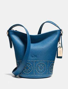 Coach Mini Studs Mini Duffle Pebble Leather Shoulder Bag