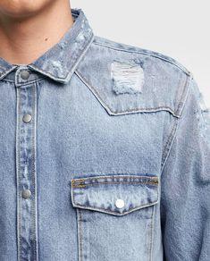 Image 5 of RIPPED DENIM OVERSHIRT from Zara Denim Button Up, Button Up Shirts, Denim Shirt Style, Ripped Denim, Chambray, Zara, Mens Fashion, 3, Jackets