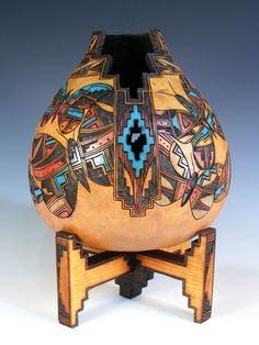 Isleta Pueblo Pyro-engraved Gourd by Lisa Chavez-Thomas