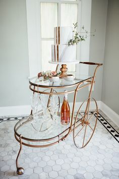 Vintage Copper Bar Cart with a Marble Wedding Cake | Heather Burris Photography | http://heyweddinglady.com/fall-pastels-metallics-woodland-wedding/