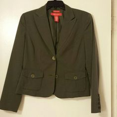 Olive Green Blazer Jacket This blazer jacket is an awesome olive green color in size 8 & it also has a bit of stretch to the material. It has 2 buttons and pocket details as shown in pic 2. Picture 3 shows button details on sleeves. It has a bit of padding in shoulder area. Only worn once for a few hours. In like-new condition. Jackets & Coats Blazers