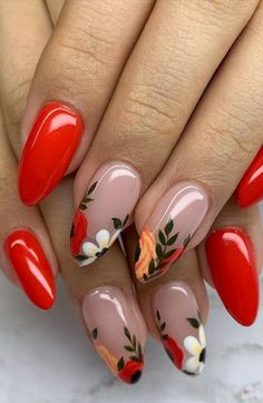 Red Acrylic Nails, Acrylic Nail Designs, Nail Designs Floral, Red Gel Nails, Cute Nail Art Designs, Nail Art Flowers Designs, Cute Toenail Designs, Nail Tip Designs, New Nail Art Design