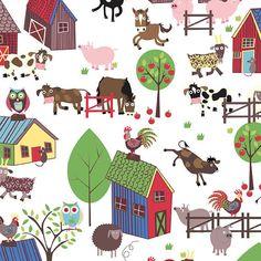 Home To Roost, Farm Fabric, Animal Farm, Chicken Fabric, Barnyard, 1 yard fabric