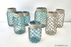 Hometalk :: Coastal Inspired Netted Mason Jars
