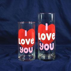 I Love You Valentines Day Gift for Her $18.99 - 20.99 at https://www.etsy.com/listing/566277260 A beautiful way to say I love you on Valentine's Day or your anniversary. The candle holder is approximately 7 inches tall and is great for candles and small flower bouquets. The flower vase is approximately 9 inches tall making it the perfect height to use as either a flower vase or a pillar candle holder. For more home decor and gifts, please visit our shop at…