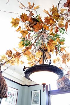 great idea for fall decorating over a pendant light