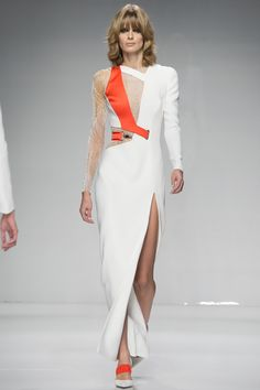 Chic Whit Gown with a tinge of Vibrant Orange - Atelier Versace Spring 2016 Couture Fashion Show