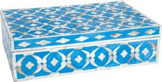 INLAID DEEP BLUE TURQOUISE PICS  | Mother of Pearl Inlay Box - Blue