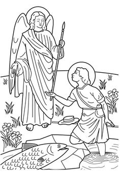 saint raphael and tobias catholic coloring page feast day is september which is the feast of the archangels