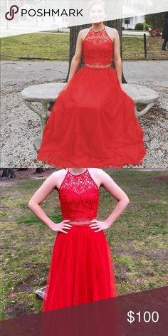 Prom Dress Red. Size 7, Top and Bottom altered Dresses Prom