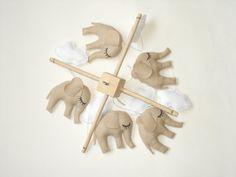 Elephant baby mobile, children mobile, crib mobile, baby gift, beige, kids decor & nursery decor via Etsy